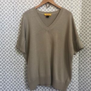 St. John taupe tan leather short sleeved oversize